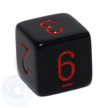 Black with Red 6-sided numeral dice
