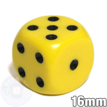 Round-corner dice - 16mm - Yellow