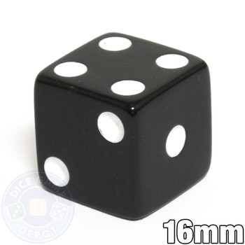 Opaque Dice - 16mm - Black