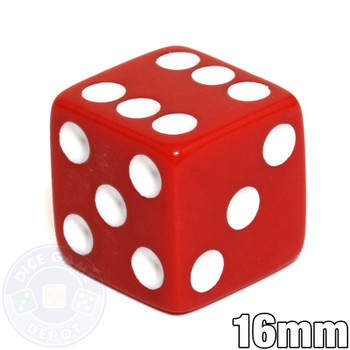 Opaque Dice - 16mm - Red with White Spots