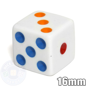 Opaque Dice - 16mm - White with Multicolored Spots