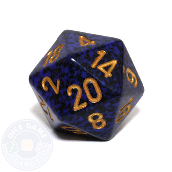 d20 - Speckled Golden Cobalt 20-sided Dice
