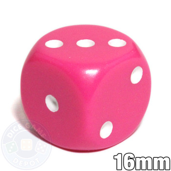 Pink opaque round-corner dice - 16mm