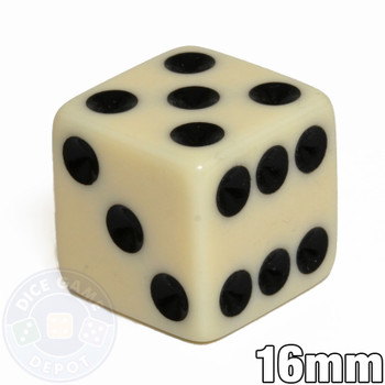 Opaque Dice - 16mm - Ivory