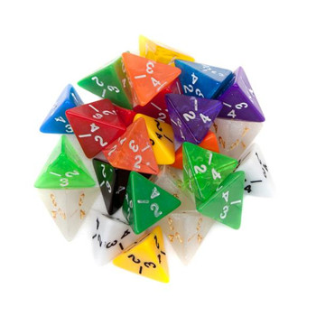 Pack of 25 Random D4 Polyhedral Dice