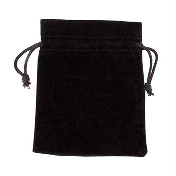 Black Velour Pouch with Drawstring
