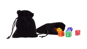 Medium 3in x 4in Plain Black Velour Pouch with Drawstring