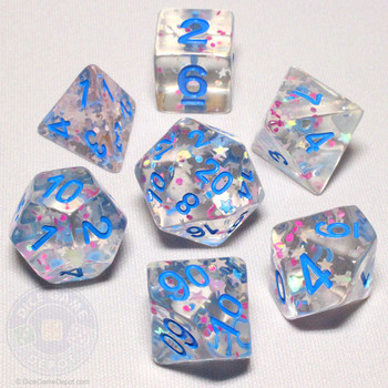 Clear Confetti DnD dice set - 7-pieces