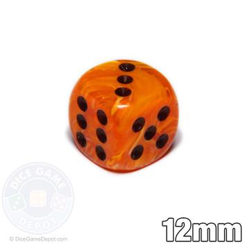 Orange Vortex dice - 12mm d6