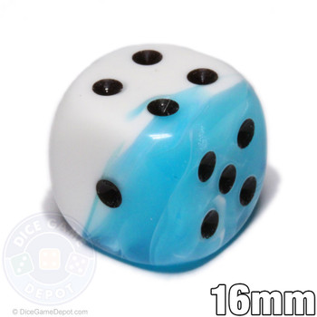 Teal and White Gemini 6-sided Dice