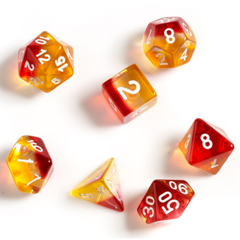 Red and yellow transparent dice set