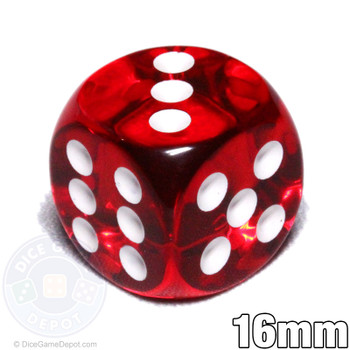 Transparent red 6-sided dice