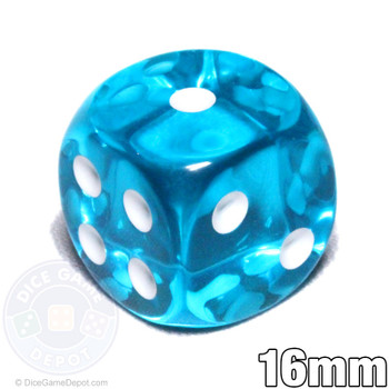 Transparent teal 6-sided dice