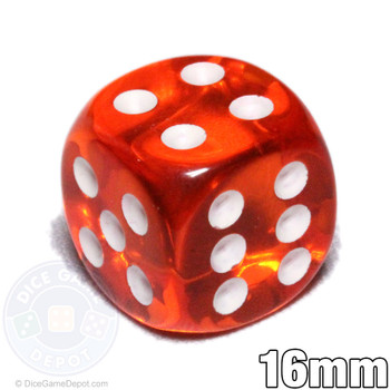 Transparent orange 6-sided dice