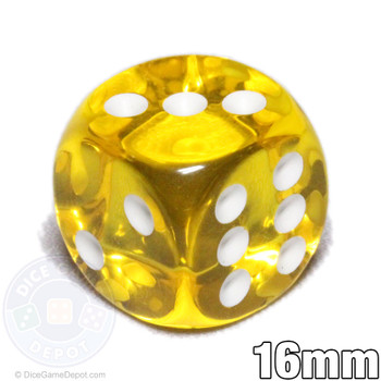 Transparent yellow 6-sided dice