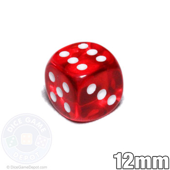Transparent 12mm red 6-sided dice