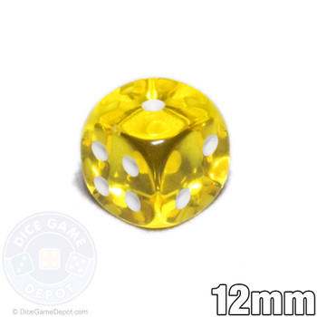 Transparent 12mm yellow 6-sided dice