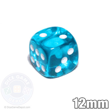 Transparent 12mm teal 6-sided dice