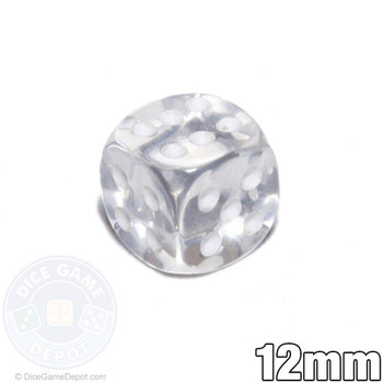 Transparent 12mm clear 6-sided dice