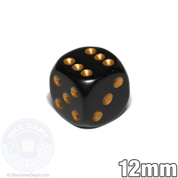 12mm black dice with gold spots