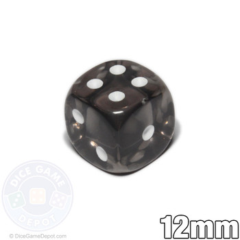 Transparent 12mm smoke 6-sided dice