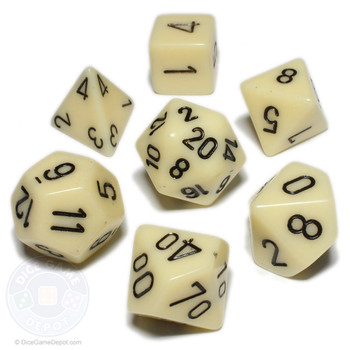 Opaque ivory 7-piece D&D dice set
