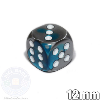 12mm Steel and Teal Gemini dice  - d6