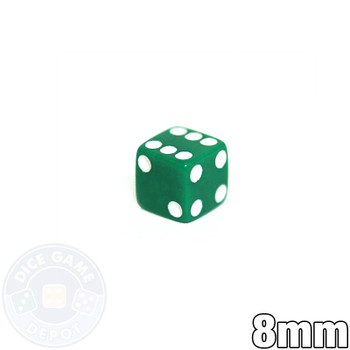 8mm Opaque Green Dice