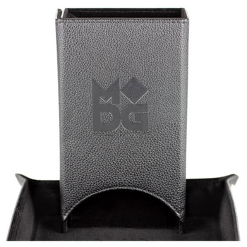 Black leather fold up dice tower