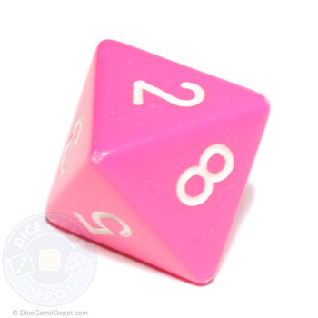 8-sided pink opaque dice (d8)