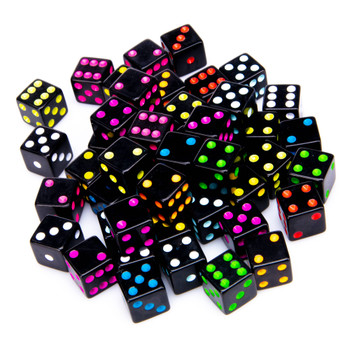 Blackout dice - Set of 50 opaque black dice with colorful spots