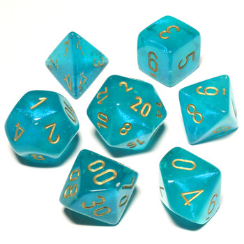 Teal Borealis Luminary dice set - DnD dice