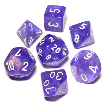 Purple Borealis Luminary dice set - DnD dice set