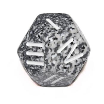 12-sided die numbered 1 through 4 - Granite