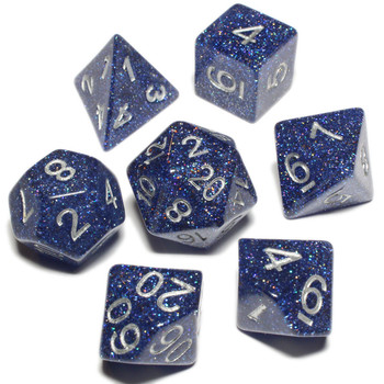 D&D dice set - 7-Piece RPG dice - Blue Glitterdust