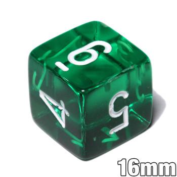 d6 - Transparent Green numeral dice