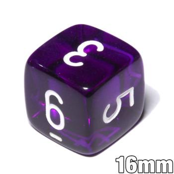 d6 - Transparent Purple numeral dice