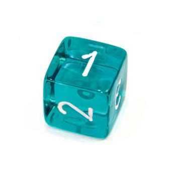 d6 - Transparent Teal numeral dice