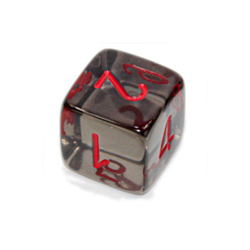 d6 - Transparent Smoke numeral dice with red numbers
