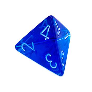 d4 - Transparent blue 4-sided dice