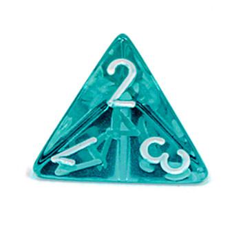 d4 - Transparent teal 4-sided dice
