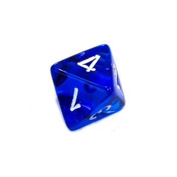 8-Sided Transparent Dice (d8) - Blue