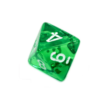 8-Sided Transparent Dice (d8) - Green