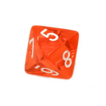 d8 - Transparent orange 8-sided dice
