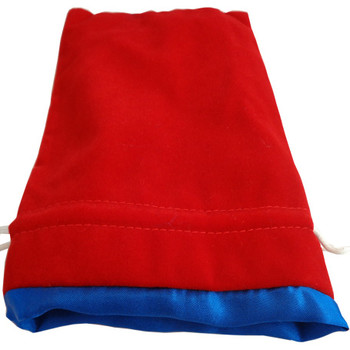 Red dice bag with blue satin lining