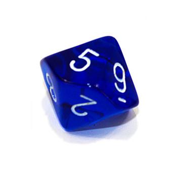 10-sided transparent blue dice - d10