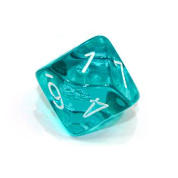 d10 - Transparent teal 10-sided dice