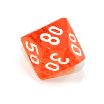 d10 - Transparent orange 10-sided tens dice