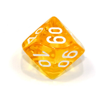 10-Sided Tens Transparent Dice (d10) - Yellow