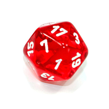 d20 - Transparent red 20-sided dice